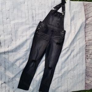 Blue Spice 11 black destroyed denim overalls